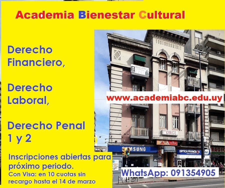 Derecho Financiero, derecho labora, derecho penal 1 y 2. Academia ABC